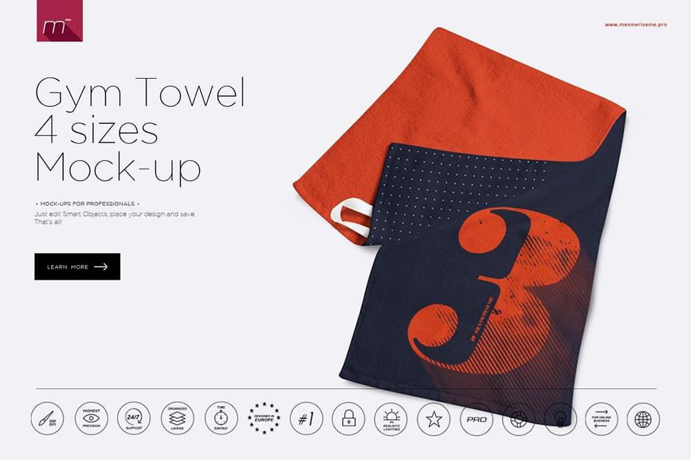 Gym Towel 4 Sizes Mock-up