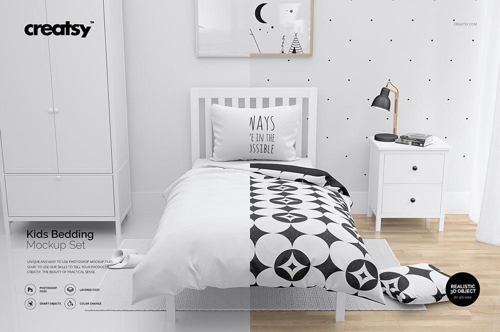 Kids Bedding Mockup Set / Bedroom