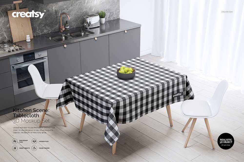 Kitchen Scene Tablecloth Mockup