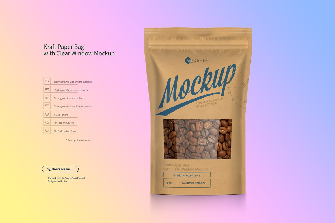 Kraft Paper Bag with Window Mock-up