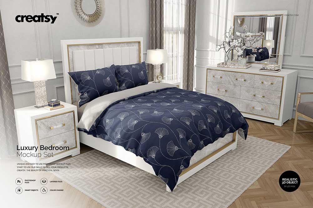 Bedroom Bedding Mockup Set