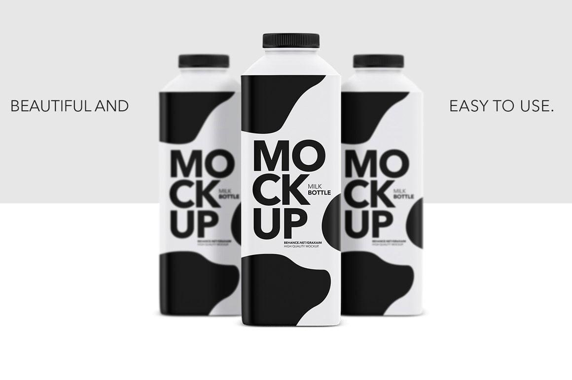 Matte Milk Bottle Mockup