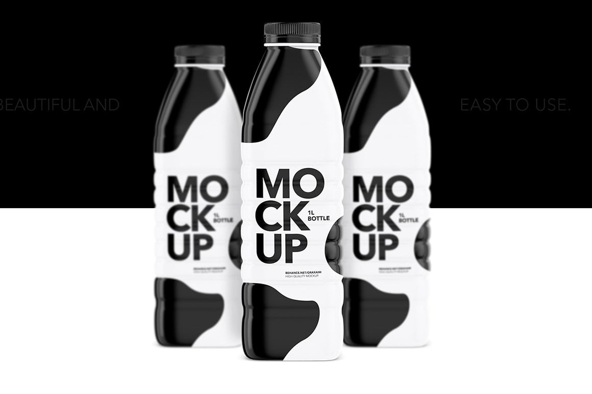 Milk Glossy Bottle Mockup