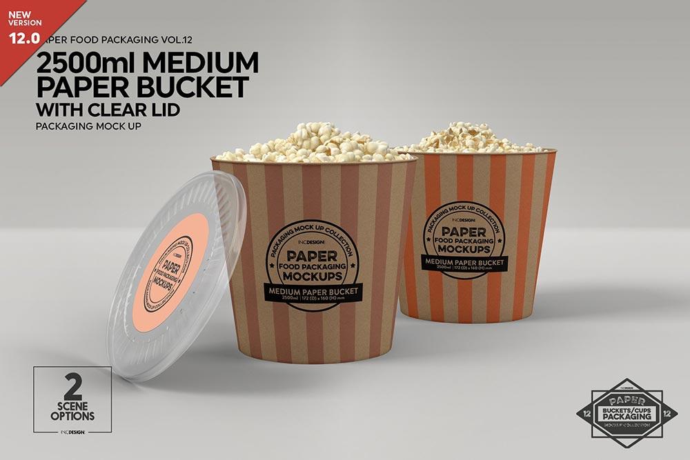 Paper Bucket Popcorn Mockup