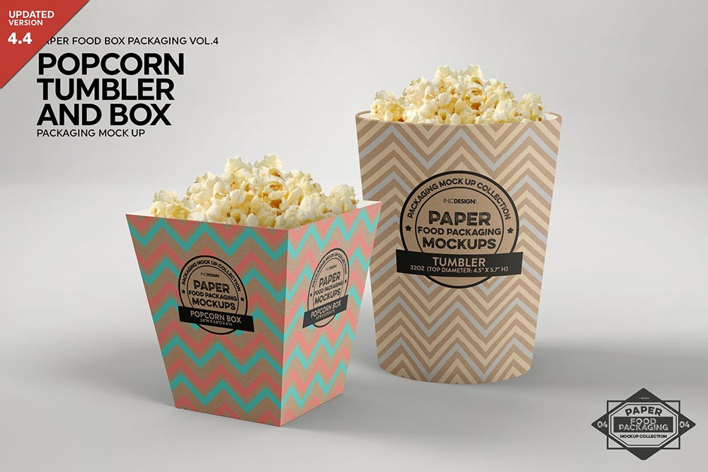 Popcorn Containers Packaging Mockup