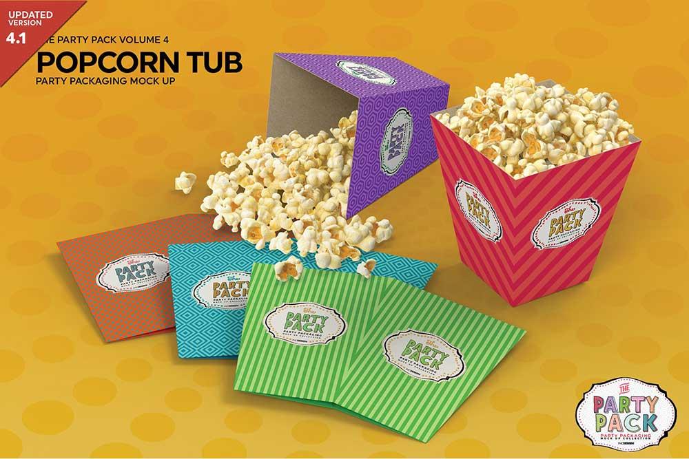 Popcorn Tub Packaging MockUp