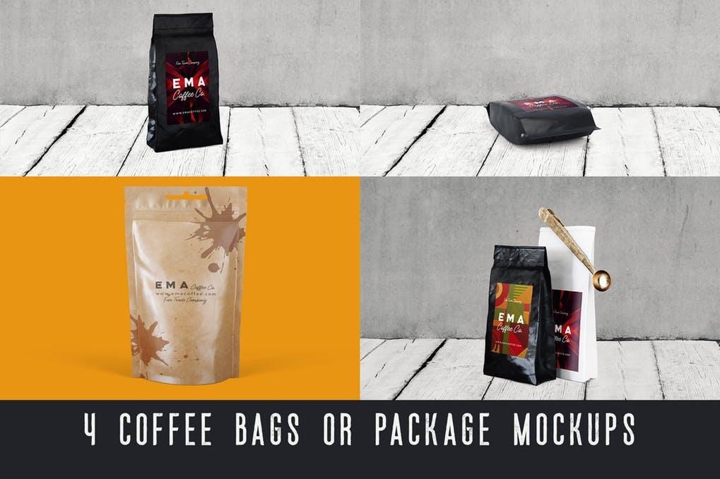 4 Coffee Bags & Package Mockups