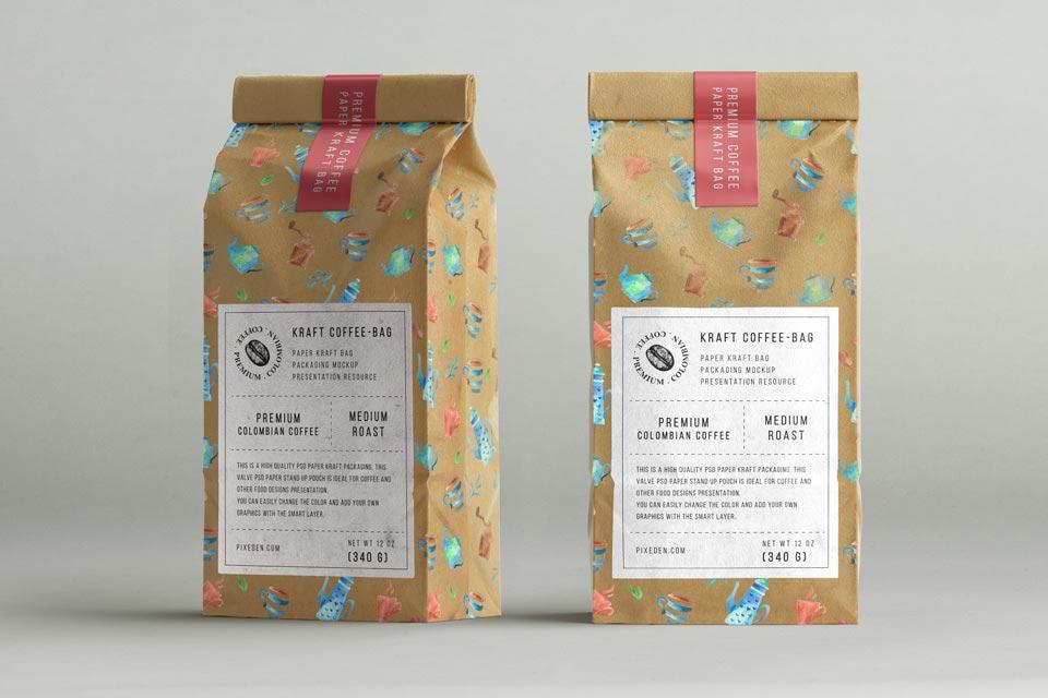 Coffee Bag Mockup PSD Templates