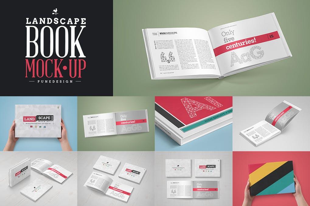 Landscape Book MockUp Set