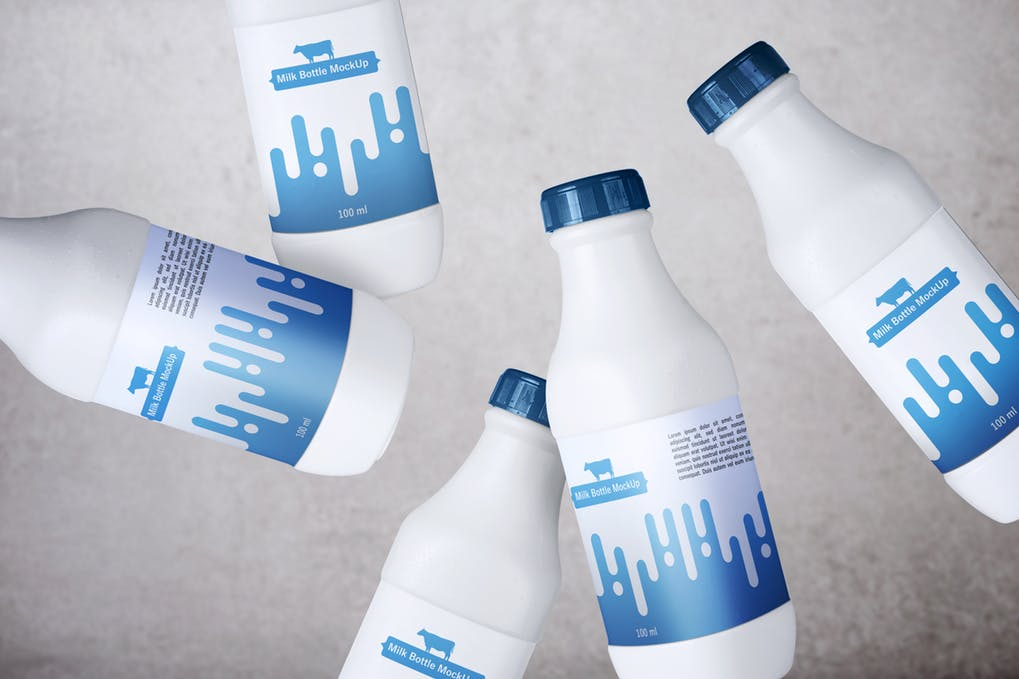 Milk Bottles Mockup