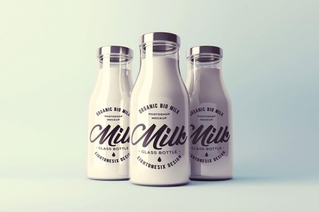 Realistic Milk Bottle Mock-Up Pack