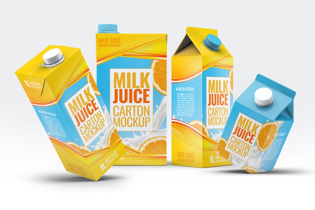 Milk Cartons Bundle Mock-Up