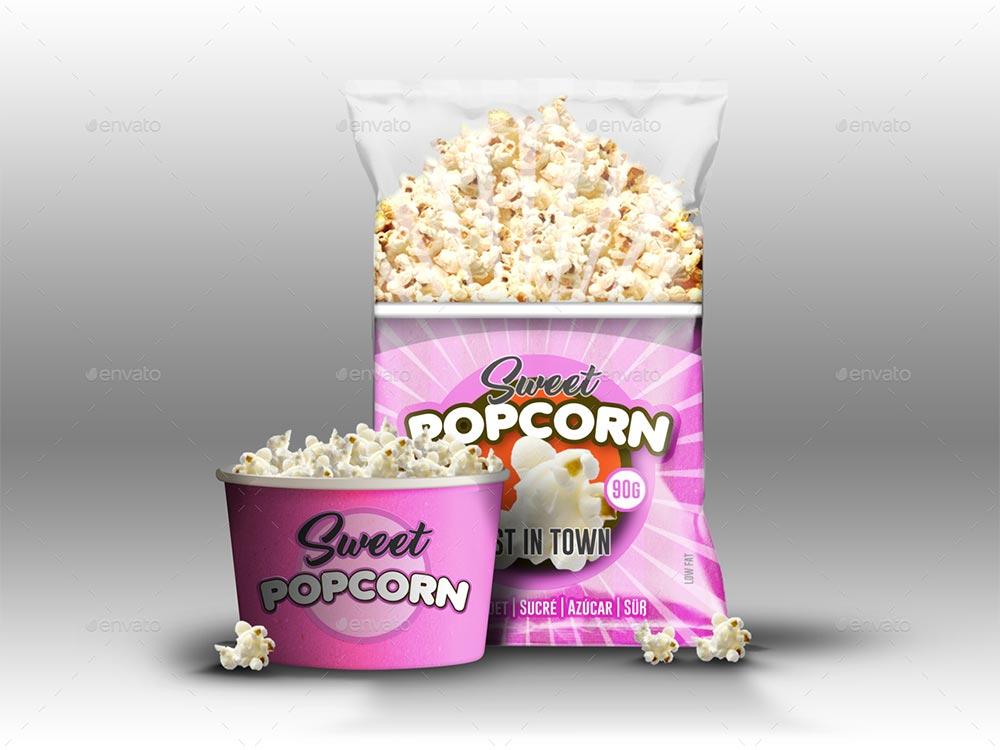 Realistic Popcorn Mockups
