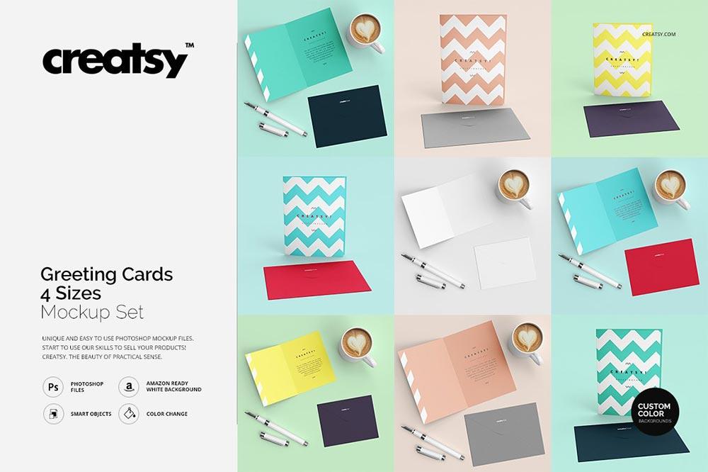 Greeting Cards 4 Sizes Mockup Set