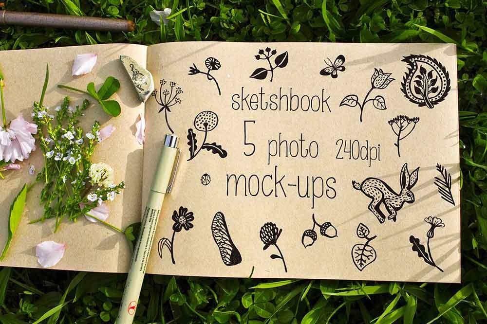 Sketchbook Mockup on the grass