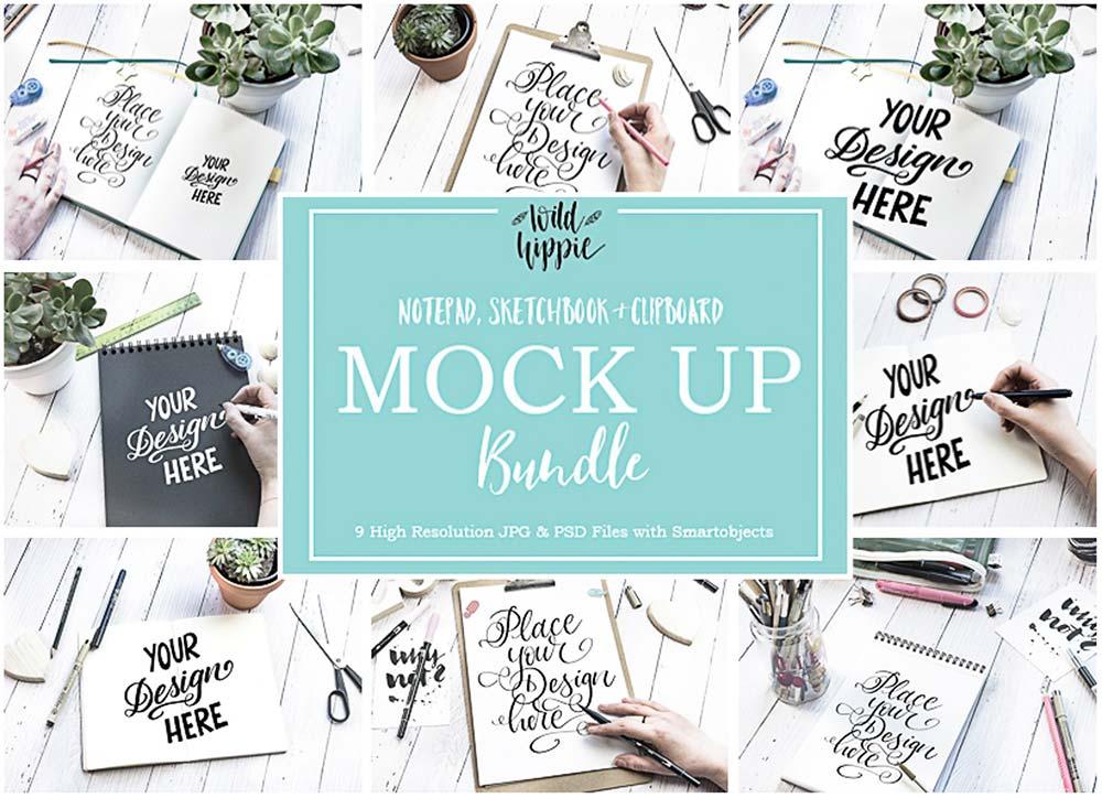 9 Sketchbook Flatlay Mockups