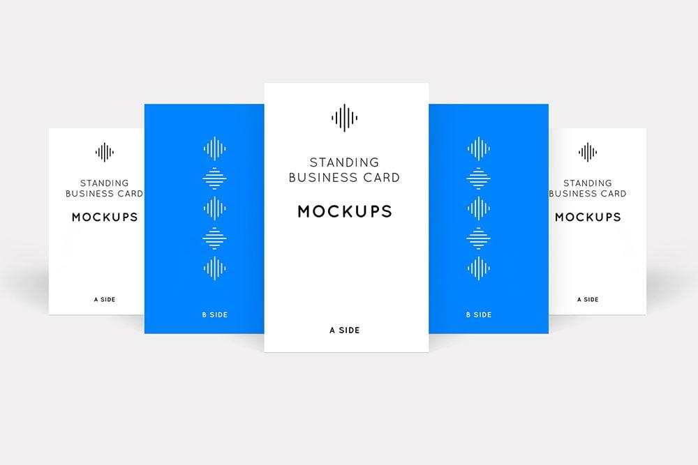 Vertical Standing Business Card Mockups