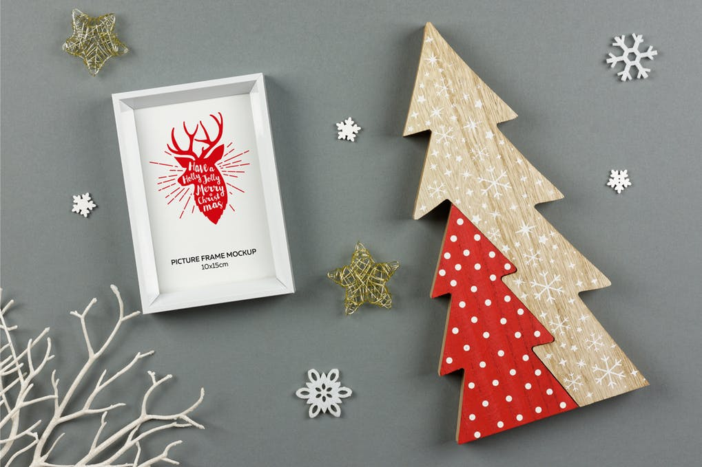 Christmas White Picture Frame Mockup
