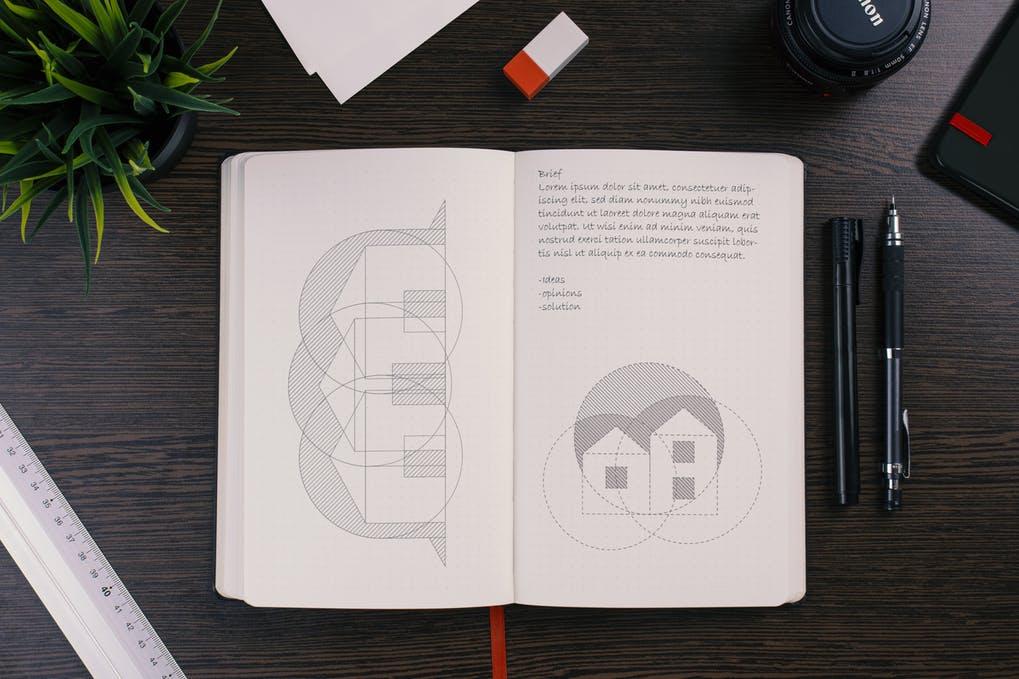 Dotted sketchbook mockup