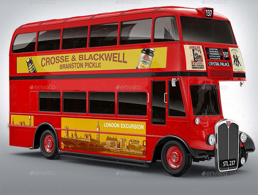 London Double-Decker Bus, Red Coach Mock-up