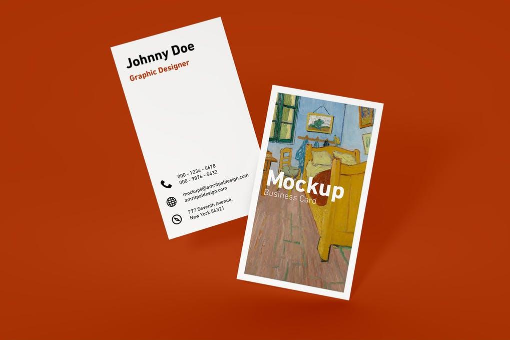 Minimal Vertical Business Card Mockup