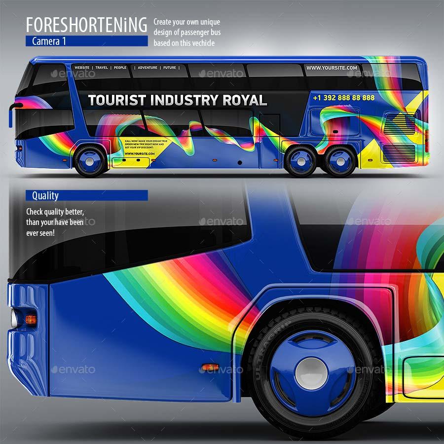 Tourist Bus, Passenger Coach, Double-Decker Bus Mock-Up