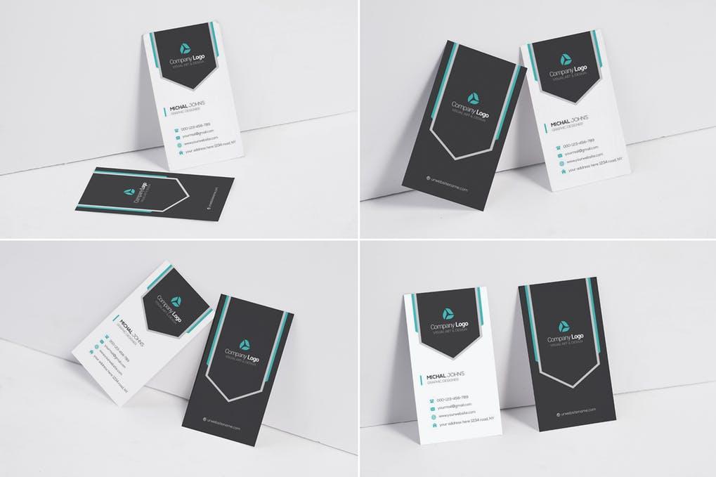 Vertical Business Card Mock Up