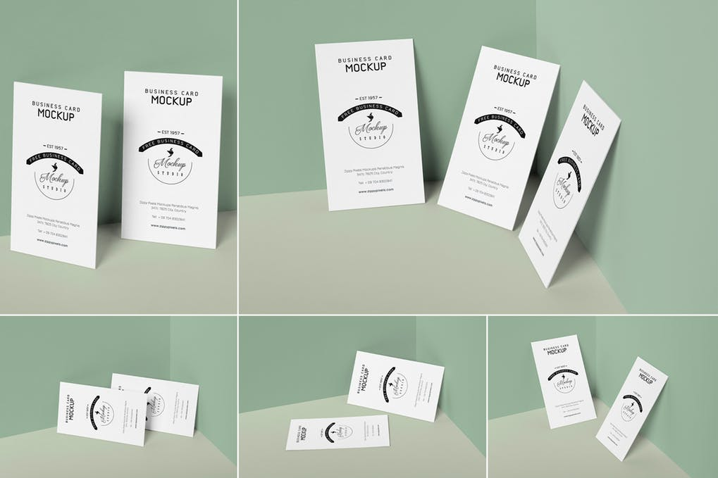 Vertical Business Card Mockups