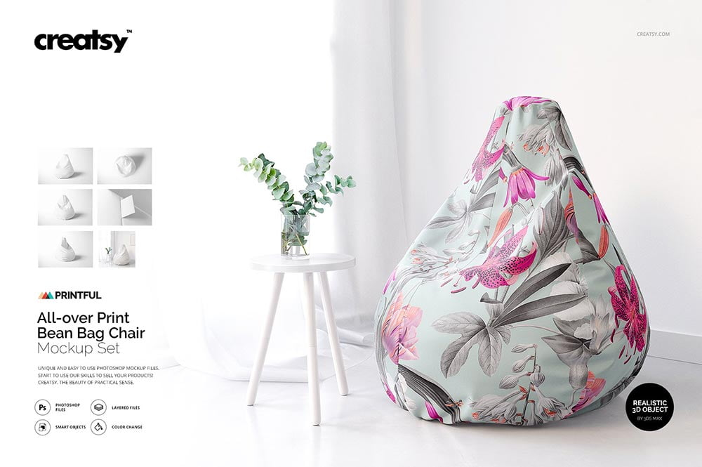 All-over Print Bean Bag Chair Mockup