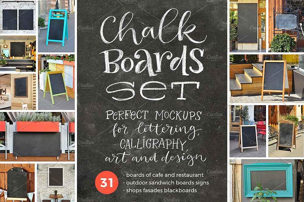 Chalk Board SET | 31 Mockups