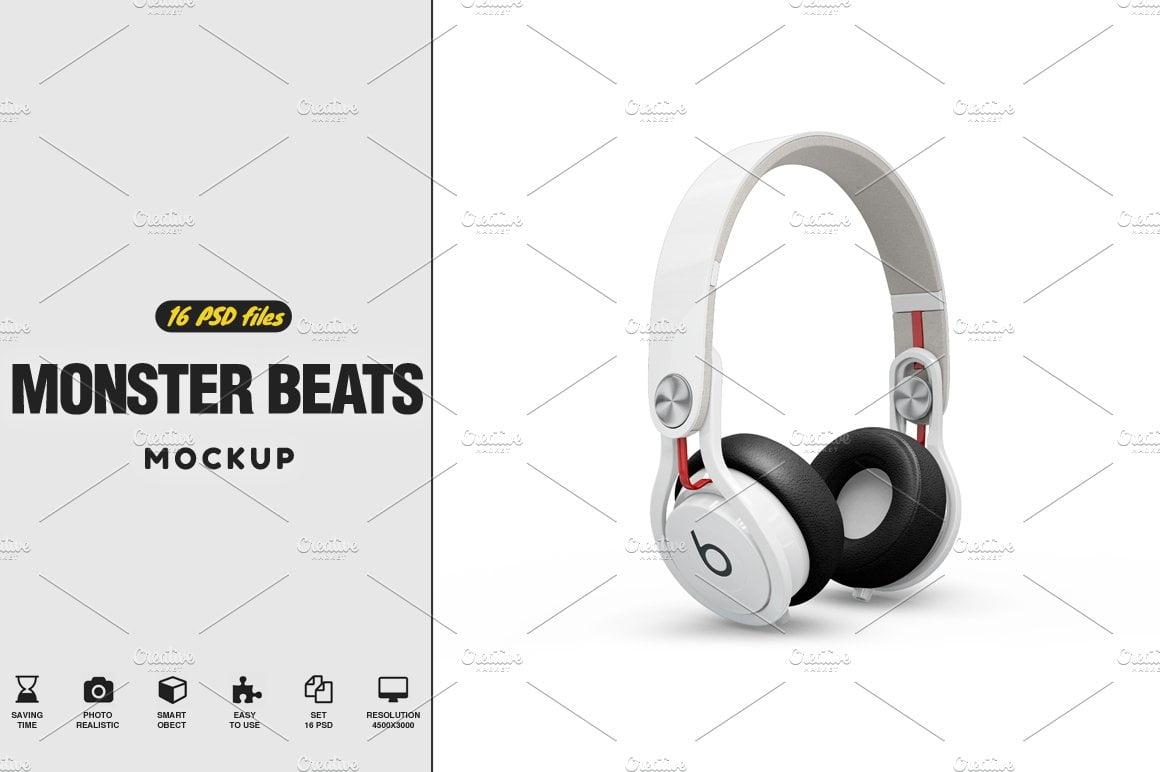 Headphones Monster Beats Mockup