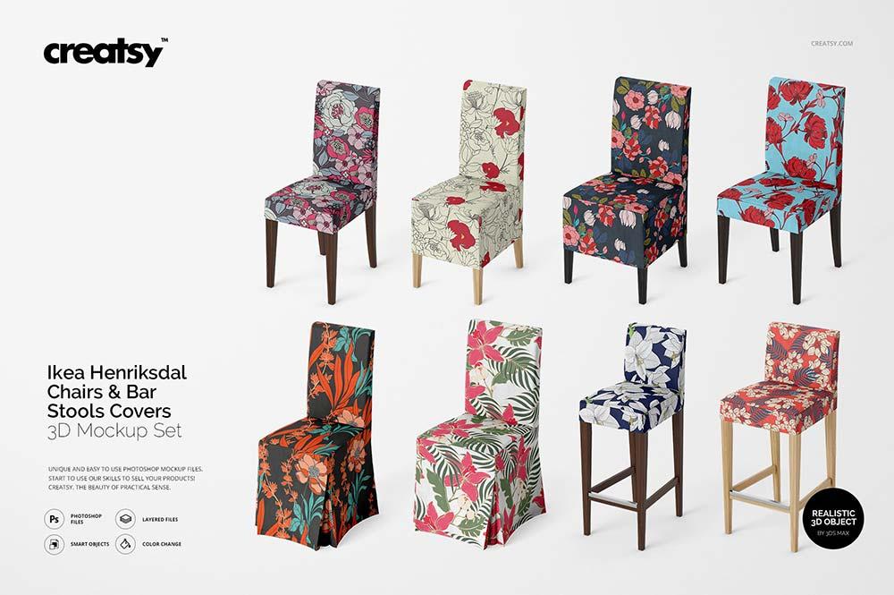 Ikea Henriksdal Chair & Stool Mockup