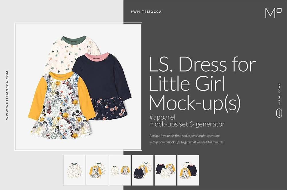 Little Girl Dress Longsleeve Mock-up