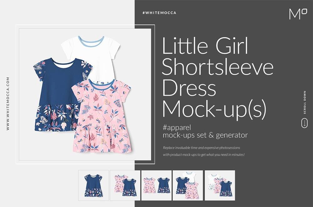 Little Girl Dress Shortsleeve Mockup