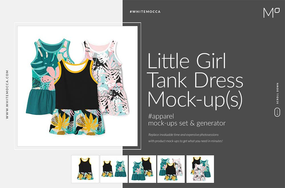 Little Girl Tank Dress Mock-ups Set
