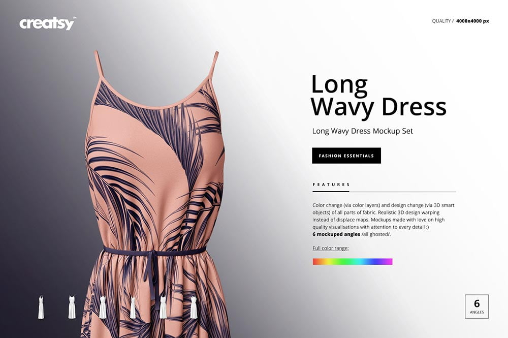 Long Wavy Dress Mockup Set