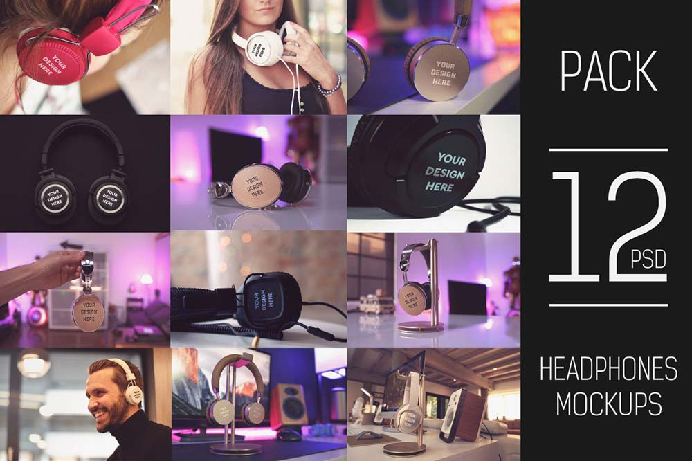 12 PSD Headphone Mockup