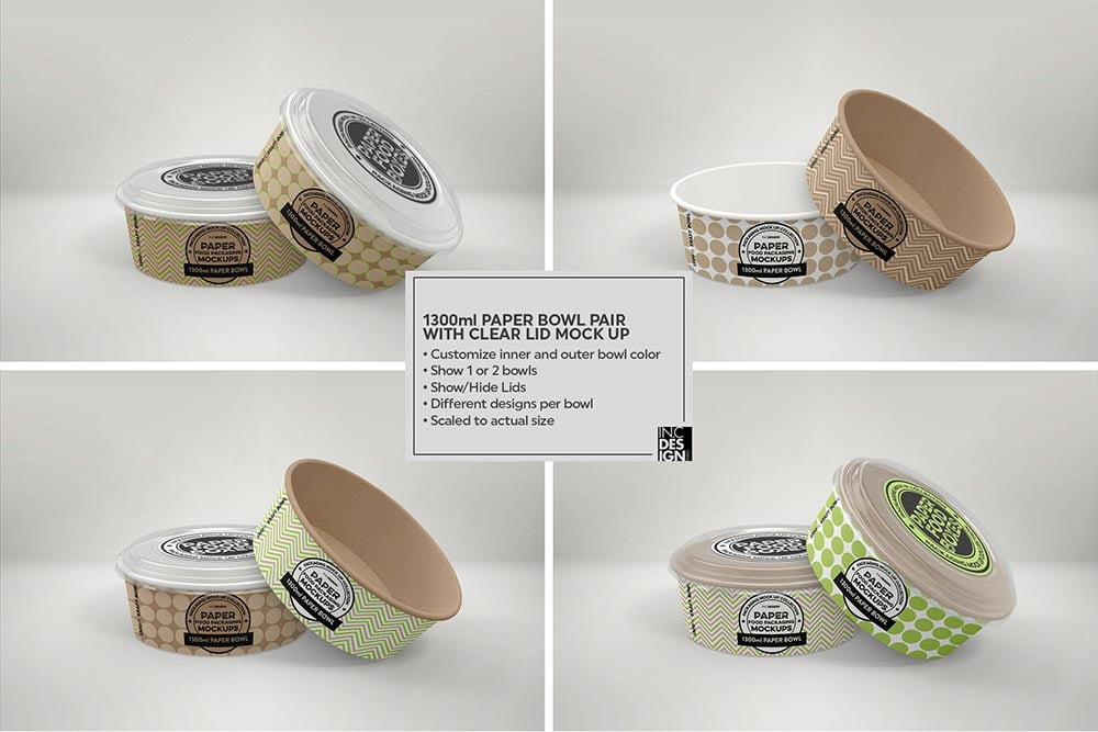 Paper Bowls with Clear Lids Mockup