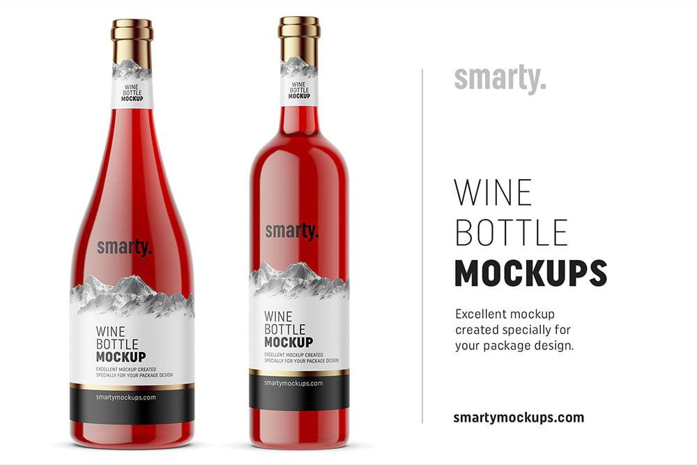Red wine bottle mockups