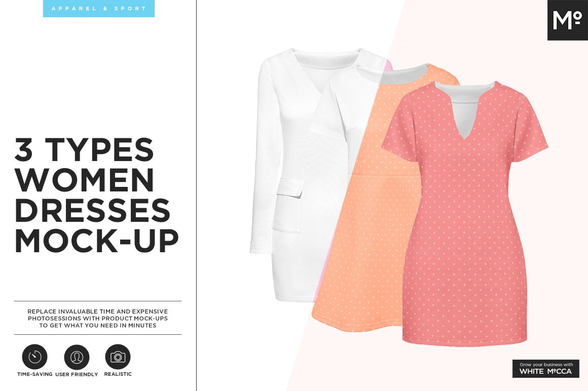 3 Types Women Dresses Mock-up