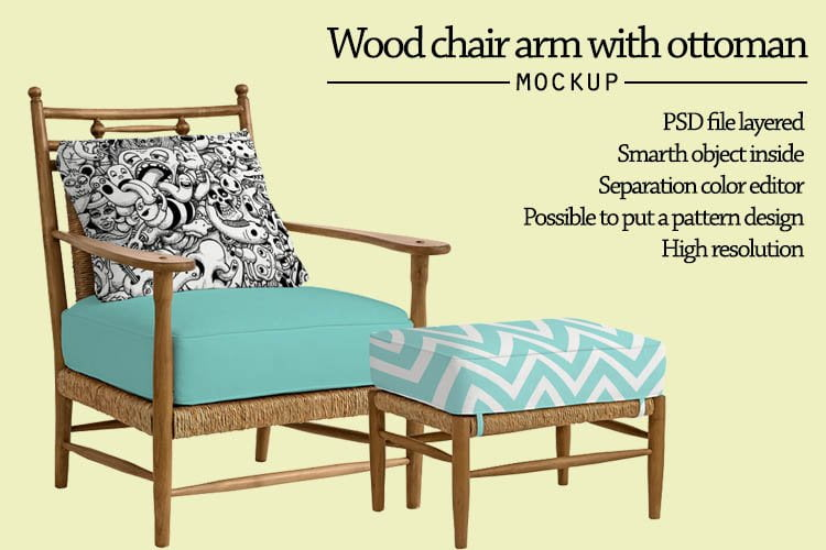 Wood chair arm with ottoman mockup