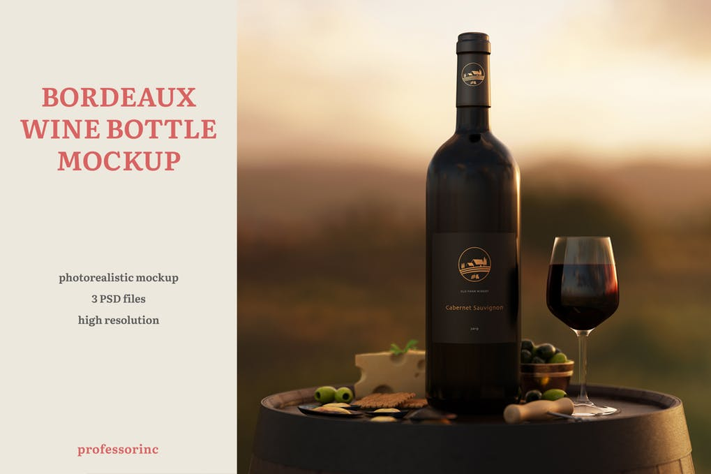 Bordeaux Wine Bottle Mockup