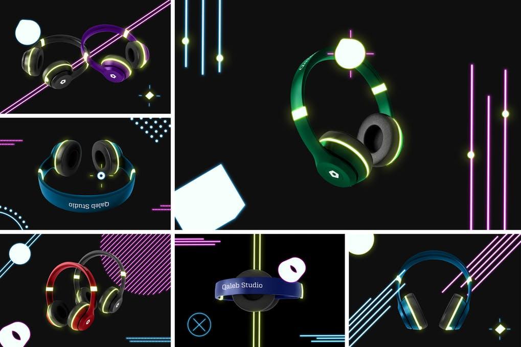 Neon Headphones Mockup