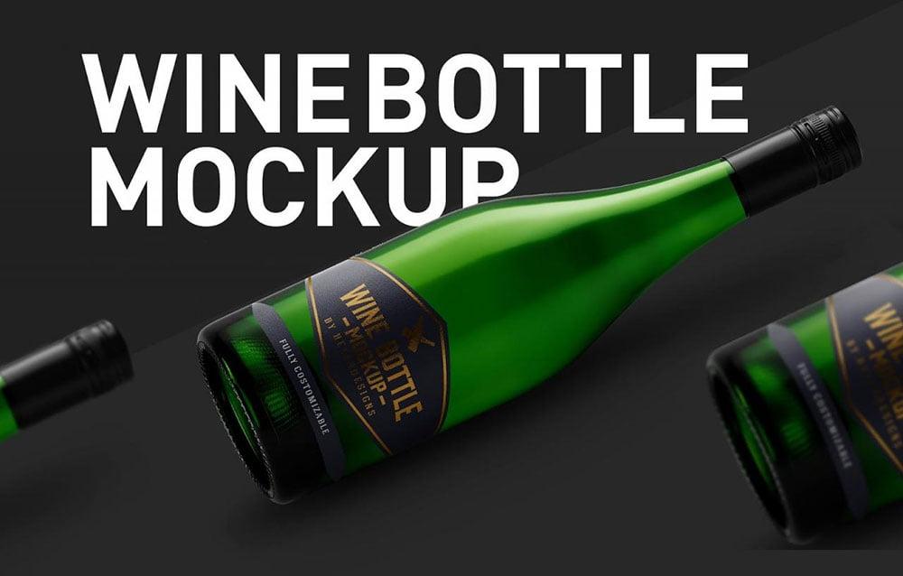 Wine Bottle Mockup PSD Templates