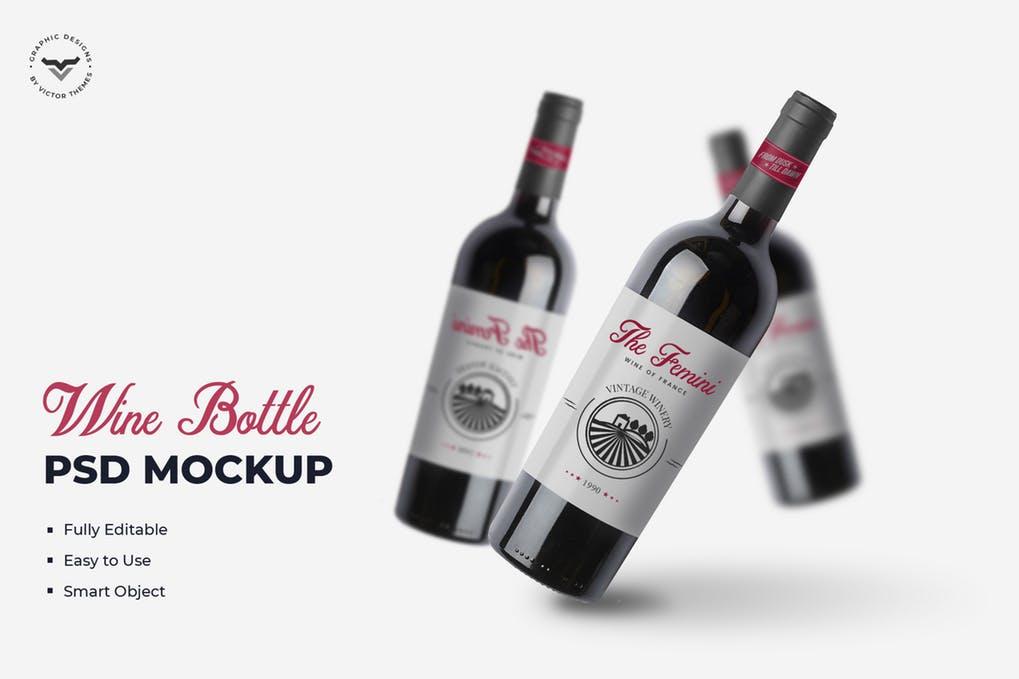 Wine Bottle Mockups Template