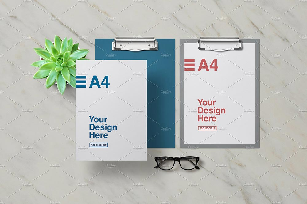 Clipboard With A4 Paper Mockup