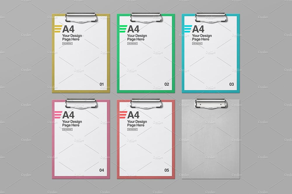 6 Clipboard With A4 Paper Mockups