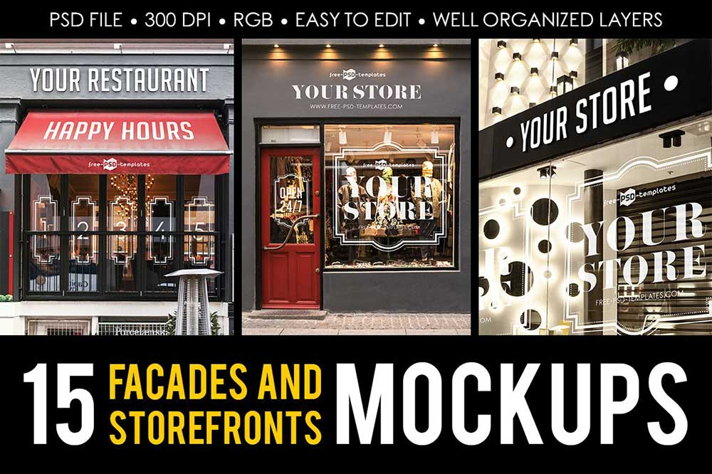 15 Facades and StoreFronts MockUps