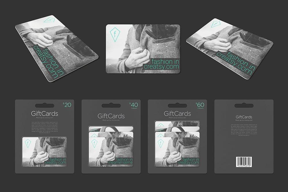 Gift Card Pack Mockup Set