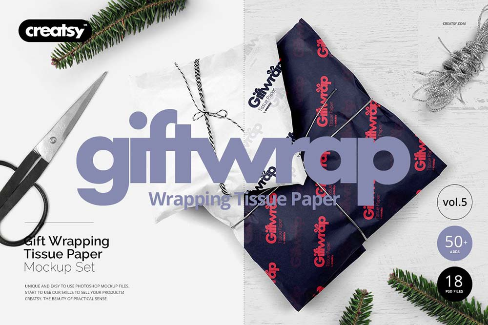 Gifts Wrapping Tissue Paper Mockup